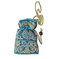 Purpledip Potli Bag (Clutch, Drawstring Purse) For Women With Intricate Gold Thread & Sequin Embroidery Work, Turquiso (10972)