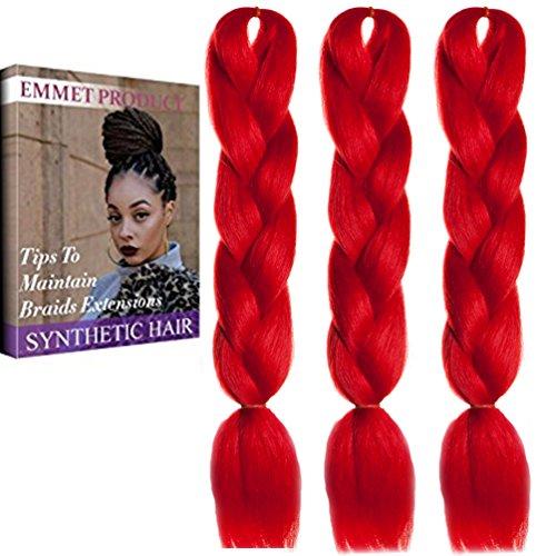 Qualität 100% Kanekalon Braiding Haarverlängerung Full Bundles 100g / pc Synthetik Haar Ombre 24Inch 3Pcs / lot Hitzebeständig, lange Zeit mit-37 Farben 2Tone & 3Tone, Garantie 1 Woche ändern oder Rückerstattung (Farbe 62) (Wirklich Gute Kostüme)