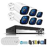 Mengen88 5MP H. 265 Full HD Home sans Fil CCTV caméra système vidéo Surveillance Kit système NVR WiFi système de caméra de sécurité avec Disque Dur de 2TB (2/4/6/8 CH),6CH