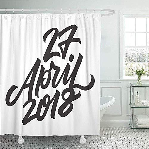 LINGJIE Duschvorhang 27 April Koningsdag in The Netherlands Dutch National Holiday Shower Curtains Sets Hooks Waterproof Polyester Fabric (April Showers-stoff)