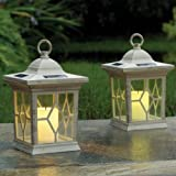 SET OF 2 SOLAR FLICKERING CANDLE LANTERN LIGHTS. GARDEN PATIO MOOD LIGHTING