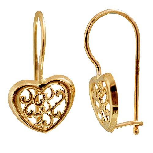 I de Be, corazón pendientes, Oro de 14K (585), 8x 14mm, 39585916101ph