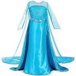 URAQT Traje del Vestido / Traje de Princesa de la nieve Vestido infantil Disfraz de Princesa de Niñas para Fiesta Carnaval Cumpleaños Cosplay (120)