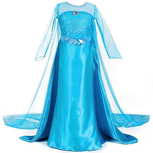 inzessin Kostüm Kinder Glanz Kleid Mädchen Weihnachten Verkleidung Karneval Party Halloween Fest (Mädchen Mit Langem Kleid)