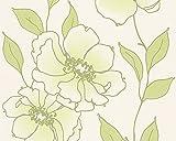 Schöner Wohnen Vliestapete Tapete floral 10,05 m x 0,53 m grün metallic weiß Made in Germany 959044 95904-4