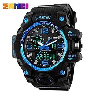 SKMEI 1155 Fashion Herren Sportuhr Super Cool Luminous Männer Zeiger Digital LED Uhr 5ATM Wasserdichte Militär Armbanduhr - Blau
