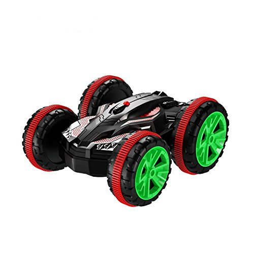 SZJJX AMC-G-VE Stunt 2.4Ghz 4WD RC Boat 6CH Remote Control Amphibious Off Road Electric Race Double Sided Car Tank Vehicle 360 Degree Spins and Flips Land and Water