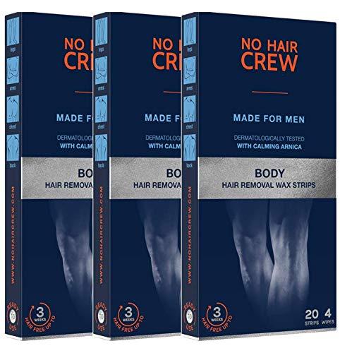 3 x NO HAIR CREW Premium Kaltwachsstreifen für den Körper - Haarentfernungs-wachs für Männer (3 x 20 Wachsstreifen