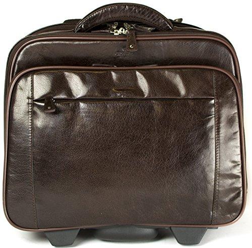 Best Price S Babila Genuine Leather Laptop Cabin Size Trolley Briefcase Overnight Flight Travel Bag (Dark Brown) Discount