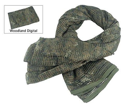 KSS Netzschal in verschiedenen coolen Designs und Farben - Tarnschal Unisex Schal für Freizeit - Größe 190 cm x 90 cm (Woodland Digital) (Woodland Digital Tarnung)