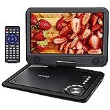 VETOMILE 12.5'' Lecteur DVD Portable 10,5 avec Ecran Pivotant à 270° 1024x600 Batterie Rechargeable Adaptateur Secteur Support du Port USB Carte SD Formats de Disque et Fichier Multiples