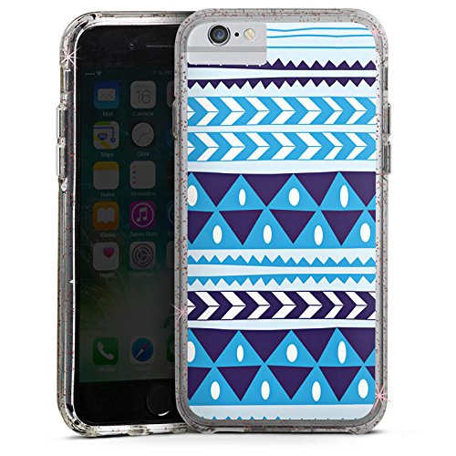 Apple iPhone 6s Bumper Hülle Bumper Case Glitzer Hülle Dreiecke Triangles Blue Bumper Case Glitzer rose gold