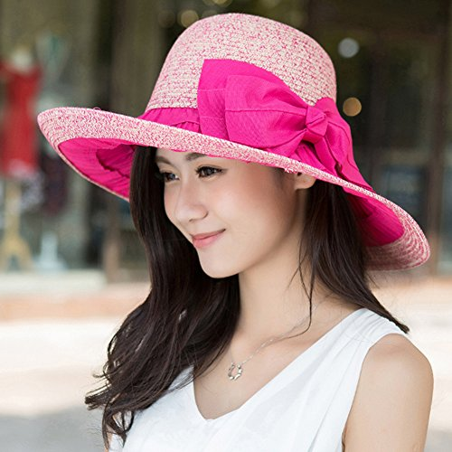 Surker Femmes Mode Summer Beach pliant Sun Visor Shade Chapeau rose rouge