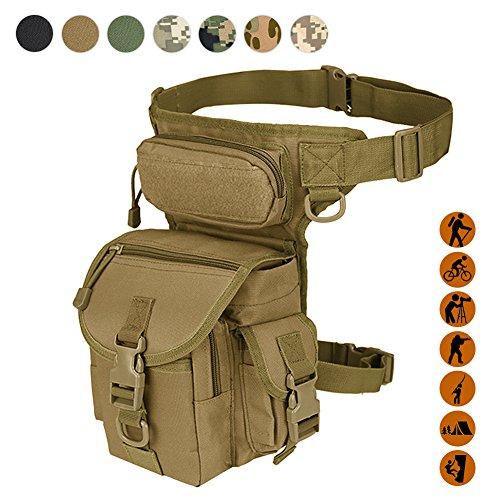 Military Tactical Drop Leg bag Tool Fanny da coscia gamba Rig Utility Pouch Airsoft Paintball moto equitazione Thermite Versipack, marrone/nero/verde militare disponibile, Tan