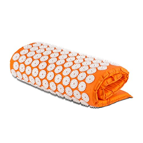 Capital Sports Relax Entspannungs- und Yantramatte Akupressurmatte Massagematte (70x40cm, 6930 Akupressur-Druckpunkte, 210 Nagelkissen mit je 33 Spitzen, waschbarer Bezug) orange