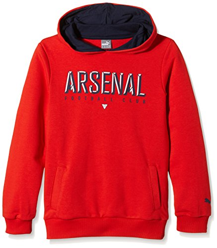 Puma Arsenal Fan felpa bambino con cappuccio, Bambini, Sweatshirt Arsenal Fan Hoody, Rosso - high risk red, 140