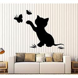 Gato Gatito Mariposa Pegatinas de Pared de Vinilo Vivero Habitación Infantil Pegatina Decoración Niños Habitación Diy Autoadhesivo Mural de Papel Pintado 57X76Cm