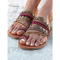 Teenring Platte Sandalen, Women's Summer Bohemian Teenring Platte Sandalen Grote Teen Bone Correctie Slippers Beach Comfy Sandals,40 EU