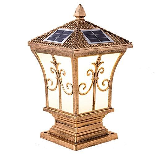 Blumenmuster Europäische Gartenvilla Gartenleuchte Zweifarbige LED-Solar-Säulenkopflampe Außenwand Tor Säulenwandleuchte Wasserdicht Und Staubdicht Neues Upgrade Patch Lichtfarbe Freies Schalten -