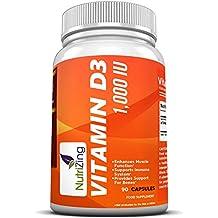 El mejor suplemento de vitamina D3 ~ alta resistencia 1000 IU ~ fortalecer los huesos