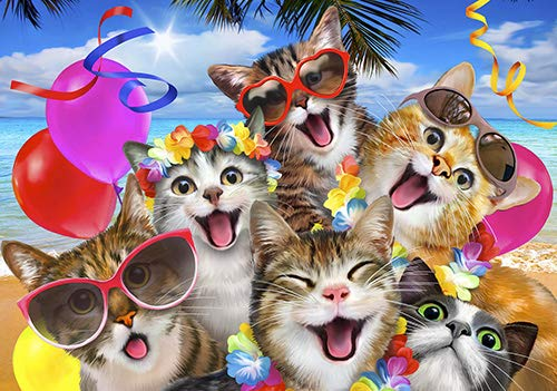 DekoShop Fototapete Vlies Wanddeko Kinderzimmer Selfies - Mädchen Jungen Tiere Katzen Kater Perser Luftballon Bengal Strand Sonnenbrille Wanddekoration 12866VEXL 208cm x 146cm
