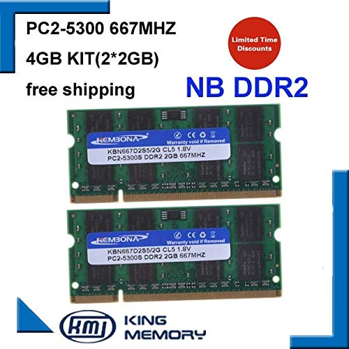 HAMISS 4GB 2x2GB PC2-5300S DDR2-667 667Mhz 2gb 200pin DDR2 Laptop Memory pc2 5300 667 Notebook Module -