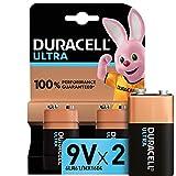 Duracell Ultra 9 V con Powercheck, Batteria Alcalina, Confezione da 2, 1.5 V, 6LR61 MX1604, Ottime per Rilevatore di Fumo
