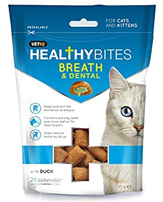 VETIQ Healthy Breath and Dental Cat Bites, 65 g, Pack of 8
