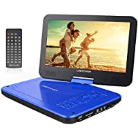 "Reproductor de DVD Portátil DE 10.5"" con Pantalla Giratoria, 5 Horas Recargable incorporada de la batería, Compatible con Tarjetas SD y USB (Blue)"