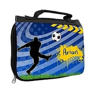 Kulturbeutel mit Namen Arian und Fußball-Motiv für Jungen | Kulturtasche mit Vornamen | Waschtasche für Kinder