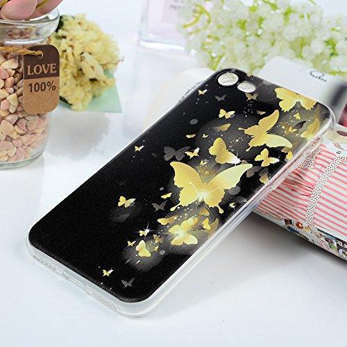 Lanveni Handyhülle für iPhone 7 Hülle×3, Handytasche Etui Protective Case Cover TPU Silikon Schutzhülle TPU-Bumper Weiche Silikon Case mit Bunte Cover Design (Kleiner Elefant) Gold Schmetterling