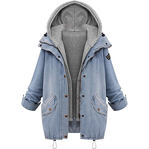 iHENGH Damen Mantel Top,Women Winter Frauen Warme Kragen Kapuzenjacke Denim Graben Parka Outwear Coat Tops (EU-40/CN-M,Blau) Neon Denim Jacket