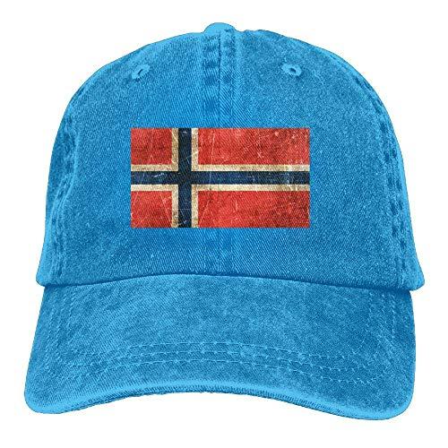 UUOnly Weinlese im Alter von und verkratzte norwegischer Flaggen-Vati-Hut-justierbarer Hut-Fernlastfahrer-Baseballmütze