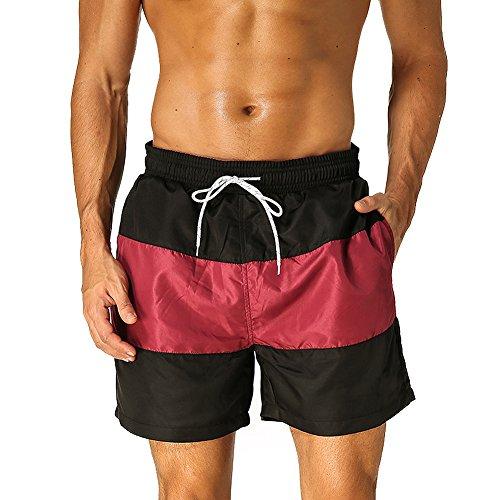 Arcweg pantaloncini uomo ragazzo calzoncini da bagno costumi mare surf boxer 100% poliestere asciugatura rapida pantaloncini da spiaggia piscina taglia 38-48 (nero rosso, etichetta m /taglia italiana 38-40)