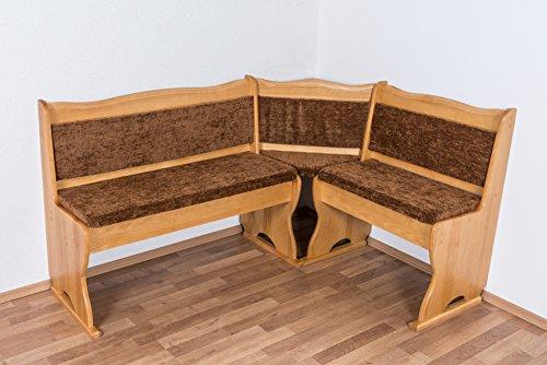 Eckbank Kiefer massiv Vollholz Erlefarben Junco 244 - Abmessungen: 85 x 108 x 148 cm (H x B x L)