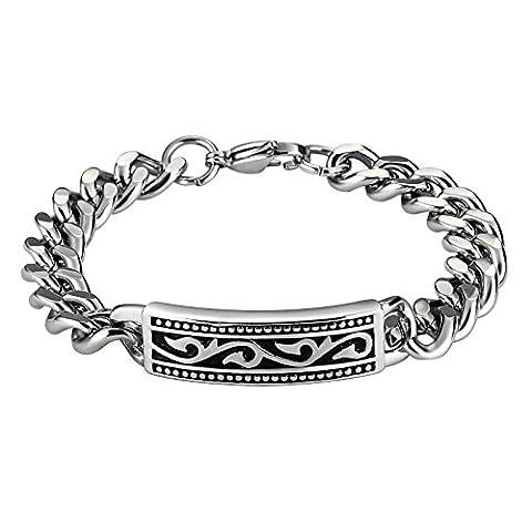 AnazoZ Argent Noir en Acier Inoxydable Motif Vintage rectangle Chaîne à maillons pour homme Bracelets