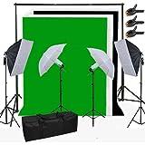BPS 500W Kit Softbox Paragua Fotografía iluminación de Estudio Fotográfico - 2 softbox 50x70cm + 2 paragua + 3 telón no tejido de fondo 3x1.6m (negro verde blanco) + sistema soporte + bolsa de transporte - Equipo profesional de estudio fotográfico casero para retrato, vídeo - Backdrop Lighting Foto Kit
