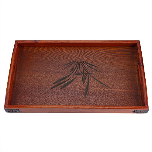 Fdit Rechteckiges Holztablett mit Griff für Restaurant Office Hotel Indoor Outdoor Tool Brown