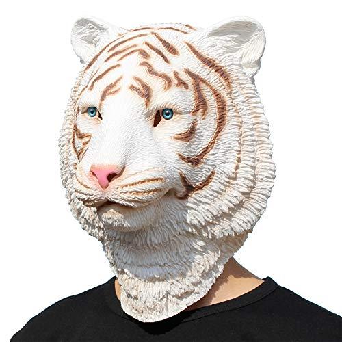 PartyCostume - Weiße Tiger Maske - Halloween Latex Wald Bestie Tierkopf Maske