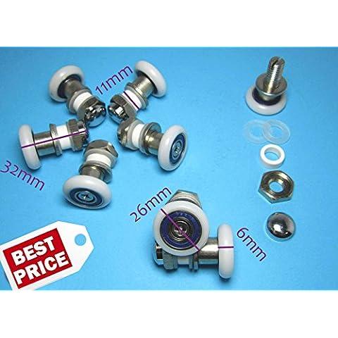 C.R. 8 x Excéntrico Rodillo Rodamiento Reemplazo Recambio Repuesto para Puerta Corredera de Ducha Baño M06B 26mm