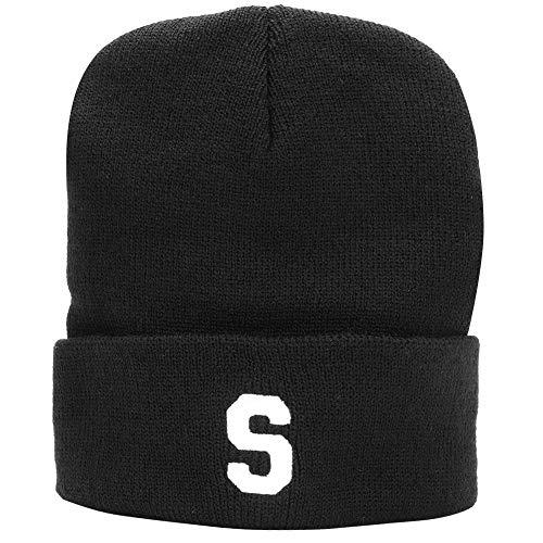 Nannday Wintermütze, Unisex Frauen Männer Outdoor Stickerei Brief gestrickt Winter warm einfarbig schwarzer Hut(Schwarz)