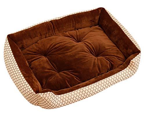 GUOCU Hundebett Hundebett mit Kissen und kuscheligem Plüsch für Kleine und große Hunde Weich Futter Abnehmbar Reinigbar Braun W XL