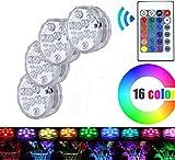 Wasserdichte Tauchfähige LED-Lichter mit Fernsteuerungs | 10-LED RGB Wasserdichte Batterie (im Lieferumfang) angetriebene Lichter für Aquarium, Vase Base, Teich, Garten, Party, Weihnachten | 4Pack