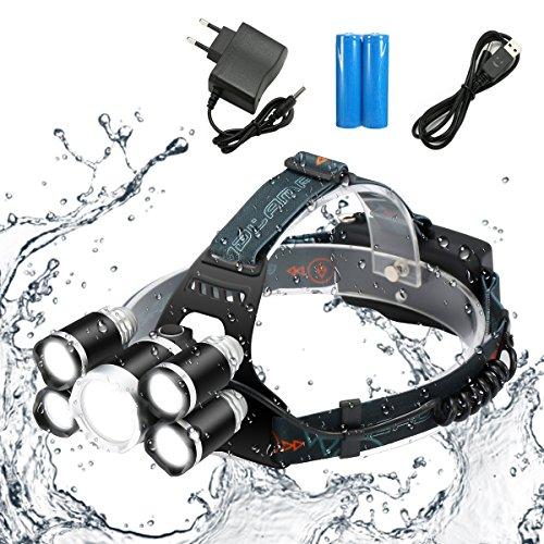 SGODDE Superheller LED Stirnlampe, LED Kopflampe mit 5 LED 8000LM mit Eingebauter Akku 4 Modi Perfekt für Camping, Mountainbiking, Fischerei, Keller,zum Campen, zum Wandern und zum Spazierengehen