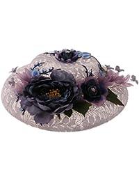 MagiDeal Chapeau Cérémonie Bride Casquettes Voilette Mariée Bonnet avec Dentelle et Fleur de Luxe