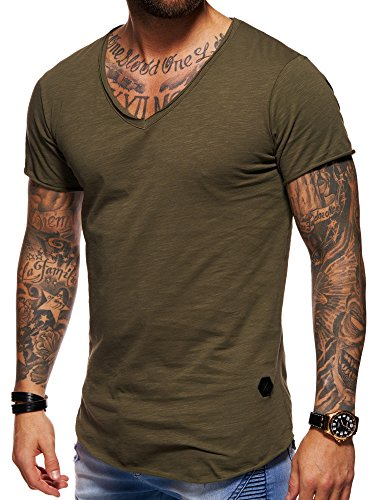 behype. Herren Oversize Kurzarm Basic T-Shirt V-Neck 20-1720 Khaki M (Olive Khaki-shorts)