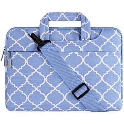 MOSISO Notebooktasche Kompatibel 15-15,6 Zoll MacBook Pro, Notebook Computer Canvas Geometrisches Muster Laptop Schultertasche Sleeve Hülle mit Griff und Schulterriemen, Serenity Blau Quatrefoil - Asus Sb