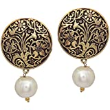 V L Impex Gold Plated With Pearl Beads Stud Earrings For Women
