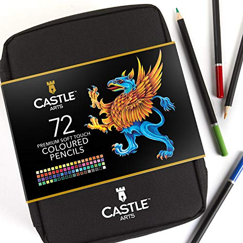 castle art supplies - set con cerniera lampo contenente 72 matite colorate, custodia facile per conservare e proteggere le matite colorate