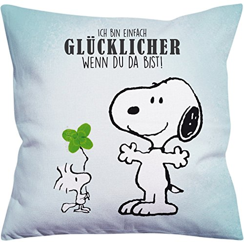 Peanuts Snoopy Collection - Kissen Ich Bin einfach glücklicher, 40 x 40 cm